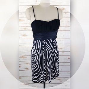 White & Black Zebra Satin Tie Empire Dress